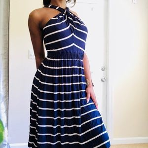 NEW Calvin Klein Crossover Neck Stripe Sundress